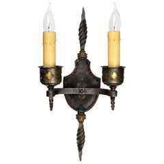 Two Candle Spanish Revival Sconce with Finial