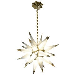 Contemporary Rock Crystal Quartz Star Chandelier