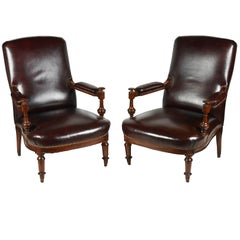 Pair of 19th Century Leather Upholstered Library Chairs