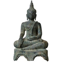 Possibly 15th-16th Century Bronze Thai Buddha Statue