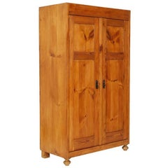 Early 20th C. Country Cupboard Wardrobe solid larch Restored and Finished to Wax