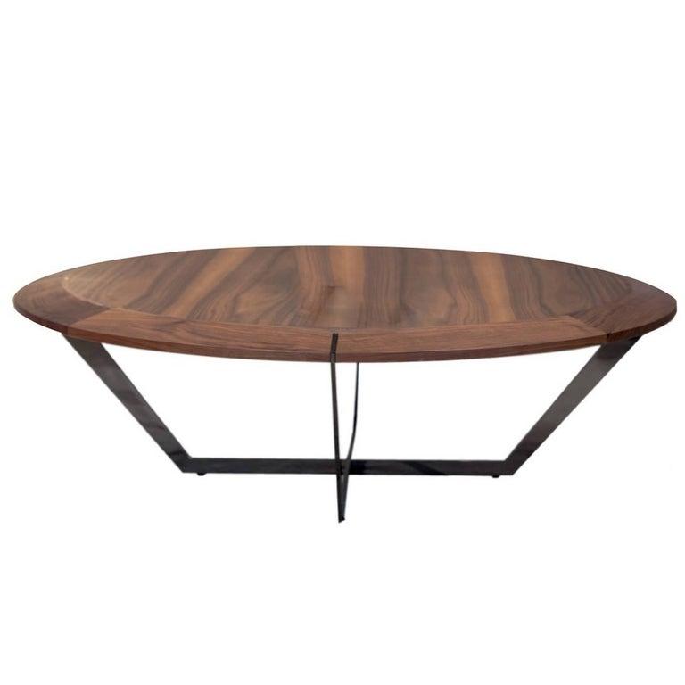 Diamond Table, Coffee Table, Walnut and Metal Finish Legs