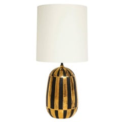 Bitossi Ceramic Table Lamp Stripes Gold Black Signed Italy, 1960s