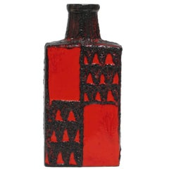 Scheurich Ceramic Vase Red Black Geometric Signed, Germany, 1960s