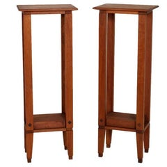 Italian Mid-Century Modern Two Art Deco Pedestals in Walnut Polished to Wax