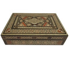 Middle Eastern Moorish Syrian Sadeli Mother of Pearl Inlay Jewelry Box