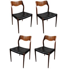 Set of Four Niels Møller Rosewood Model 71 Chairs