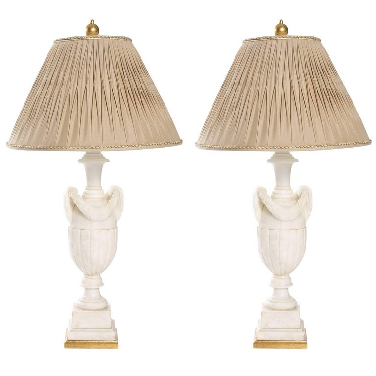 Pair of Neoclassical Marble Lamps
