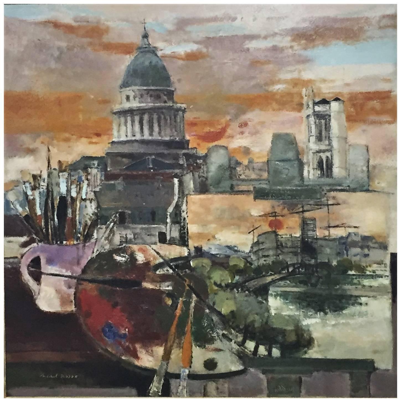 "Michel Rodde, ""Hommage a Paris"" Original Oil on Canvas Painting, circa 1960s"