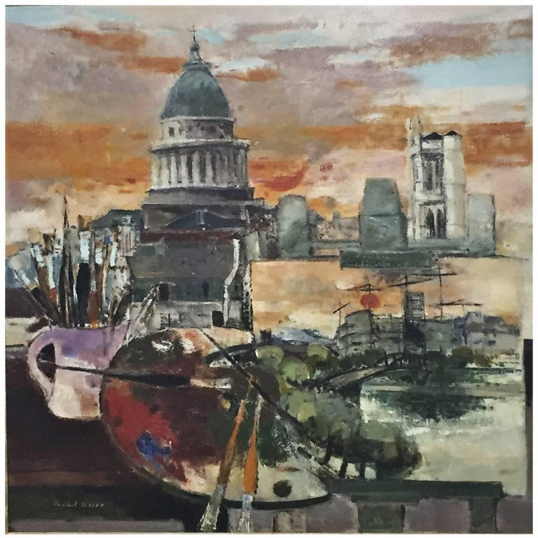 "Michel Rodde, ""Hommage a Paris"" Original Oil on Canvas Painting, circa 1960s For Sale"