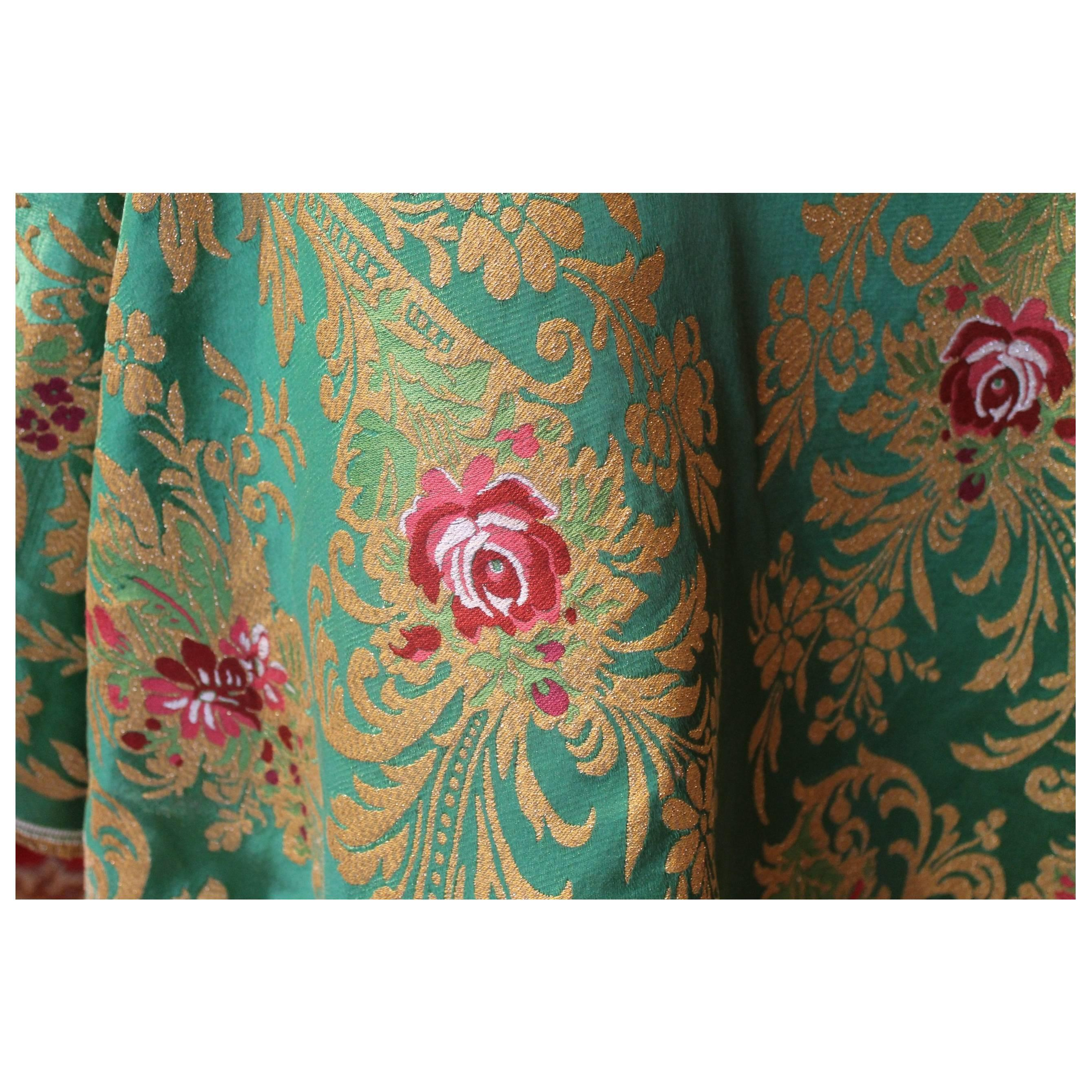 Italian Green Silk Blend Brocade Fabric with Red Roses and Gold Floral Patterns
