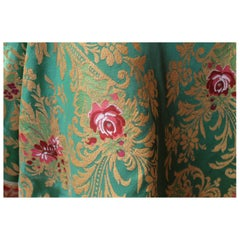 Italian Green Silk Blend Brocade with Red Roses and Gold Floral Patterns