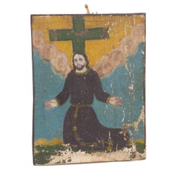 "19th Century Retablo, ""Christ Ascending"" Canvas on Wood Panel"