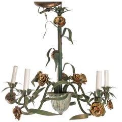 Italian Painted Metal Flower Chandelier