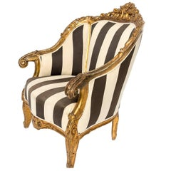 Pair of Large Black and White Fabric Gilt Fauteuils