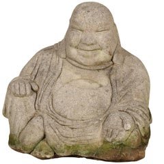 Vintage Cement Seated Happy Buddha