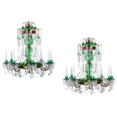 Pair of Magnificent Cut Crystal Glass Russian  Chandeliers