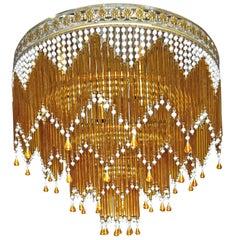 Italian Art Deco/Art Nouveau Amber and Clear Beaded Glass Murano Flushmount