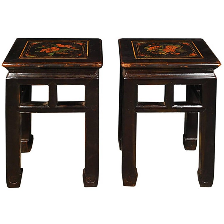 Pair of Chinese Floral Top Black Lacquer Stools