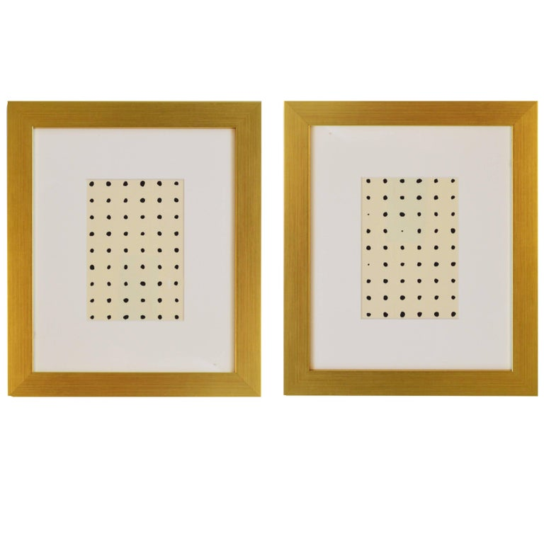 Handmade Contemporary Set of Two Framed Abstract Paintings in Acrylic on Paper