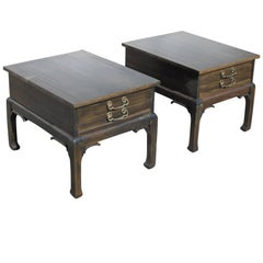 Pair of Asian Style Wood Nightstands