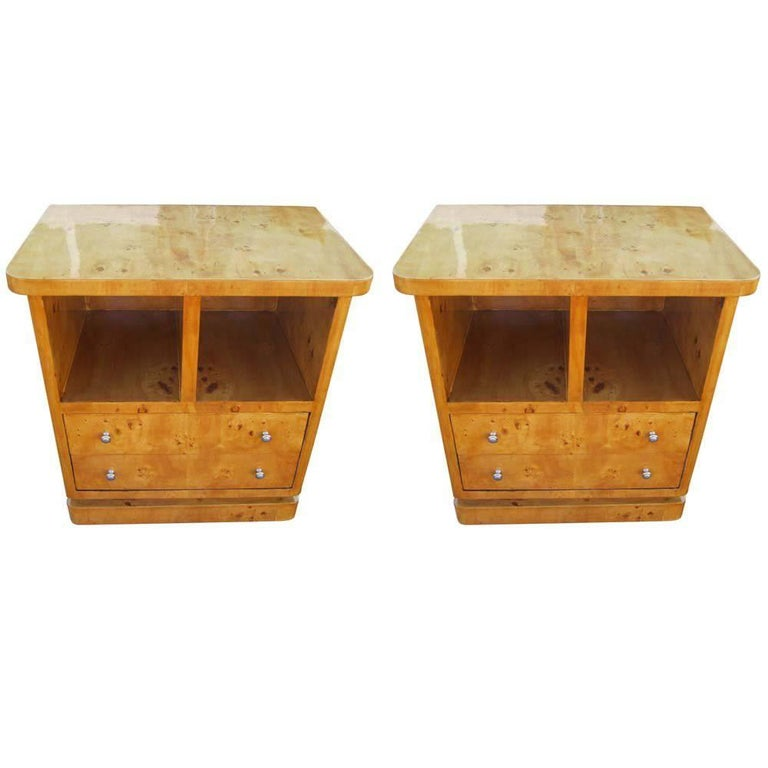 Pair of Contemporary Maple Art Deco Nightstands