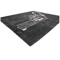 Distressed and Overdyed Charcoal Persian Rug with Revolver-Pistol Gun Design