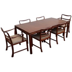 Mid-Century Modern Brown Mahogany Dunbar Extendable Dining Table and Six Chairs