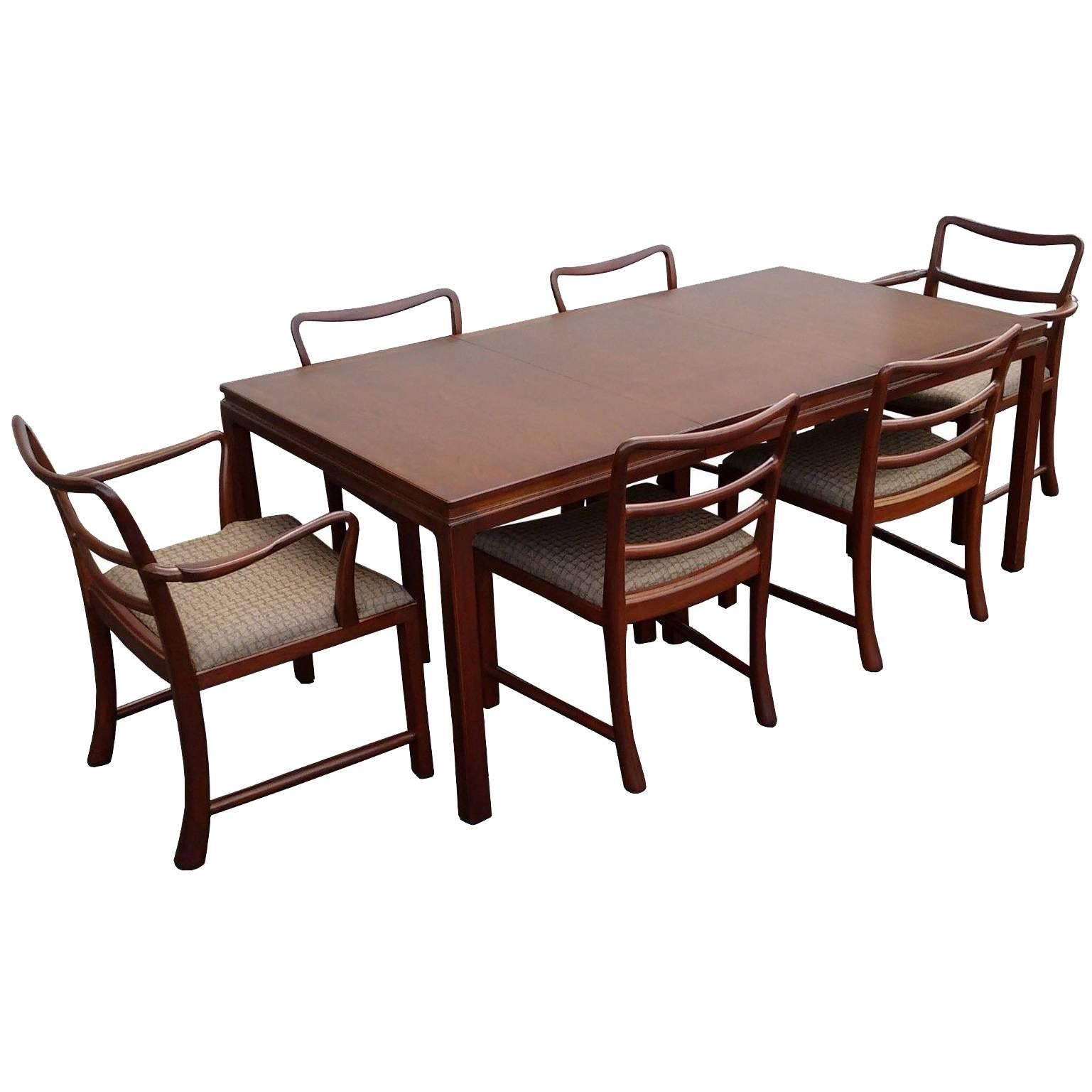 midcentury modern brown mahogany dunbar extendable dining table and six chairs