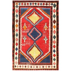 Colorful Shabby Chic Vintage Persian Gabbeh Rug