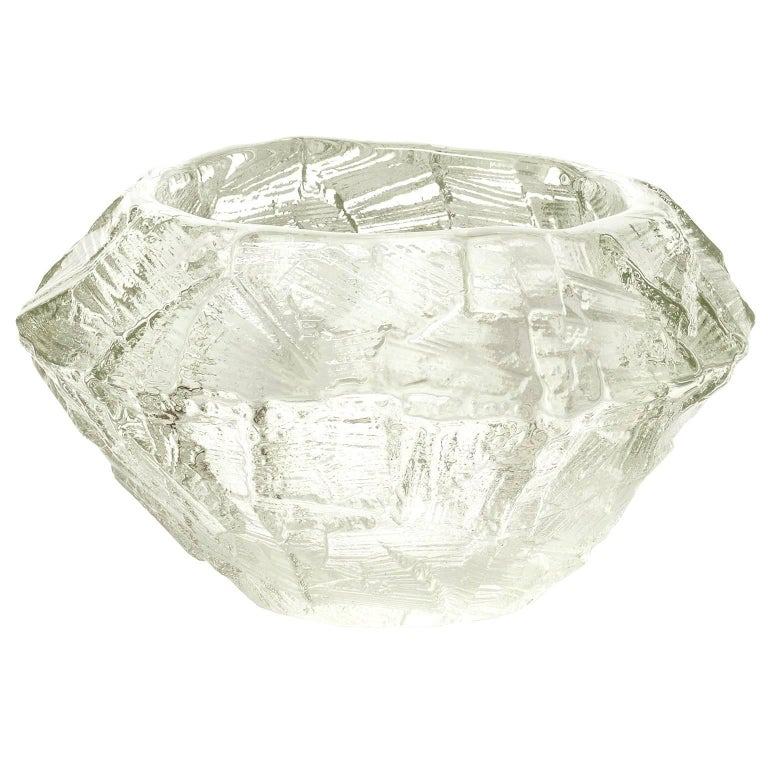 Scandinavian Modern Mid-Century Clear Glass Bowl by Gore Augustsson, Ruda For Sale