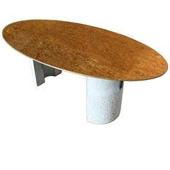 Rare Mid-Century Italian Modern Offredi for Saporiti Oval Burl Dining Table