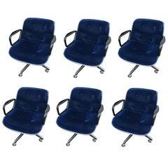 Vintage Mid-Century Blue Velour Pollock Chair