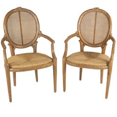Pair of Hollywood Regency Chairs Made by Twig, USA, circa 1970