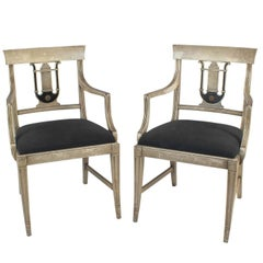Pair of Hollywood Regency Painted Armchairs in Gray and Black, circa 1940