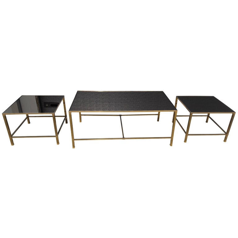 French three piece brass coffee table mirrored glass mid century modern at 1stdibs One piece glass coffee table