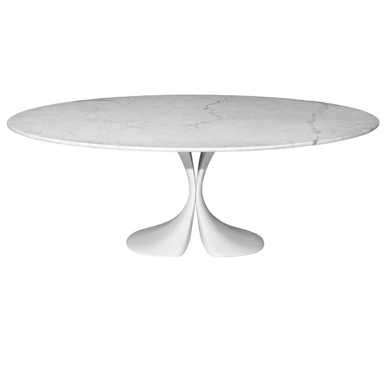 """Didymos"" Oval Marble Top and Crystalplant Base Table by A. Astori for Driade"