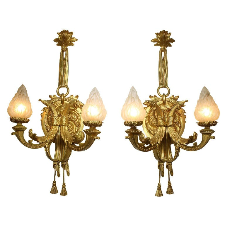 Large Pair of French 19th-20th Century Louis XVI Style Gilt-Bronze Wall Sconces