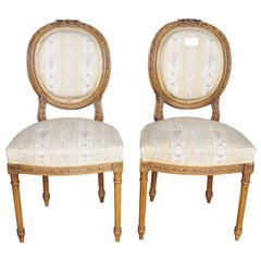 Early 1900s Pair of Gustavian Carved Canework Dining Chairs Natural Finish