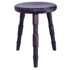 Saddle, An Oxidized Walnut Wood Stool Handmade by Laylo Studio