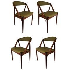 Italian leather Kai Kristiansen Dining Chairs, Set of Four
