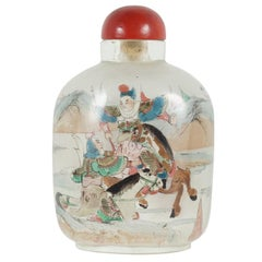 20th Century Chinese Painted Peaking Glass Snuff Bottle with Cinnabar Stopper