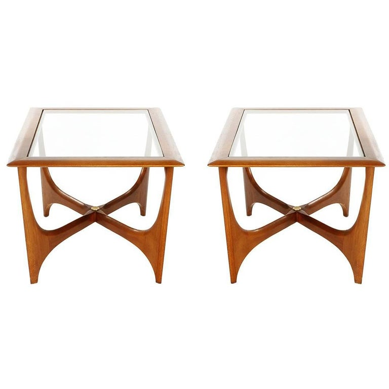 Pair of Mid-Century Modern Danish Walnut End Tables after Pearsall or Kagan
