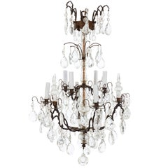 Italian Four-Tier Brass and Bronze Crystal Chandelier, circa 1890