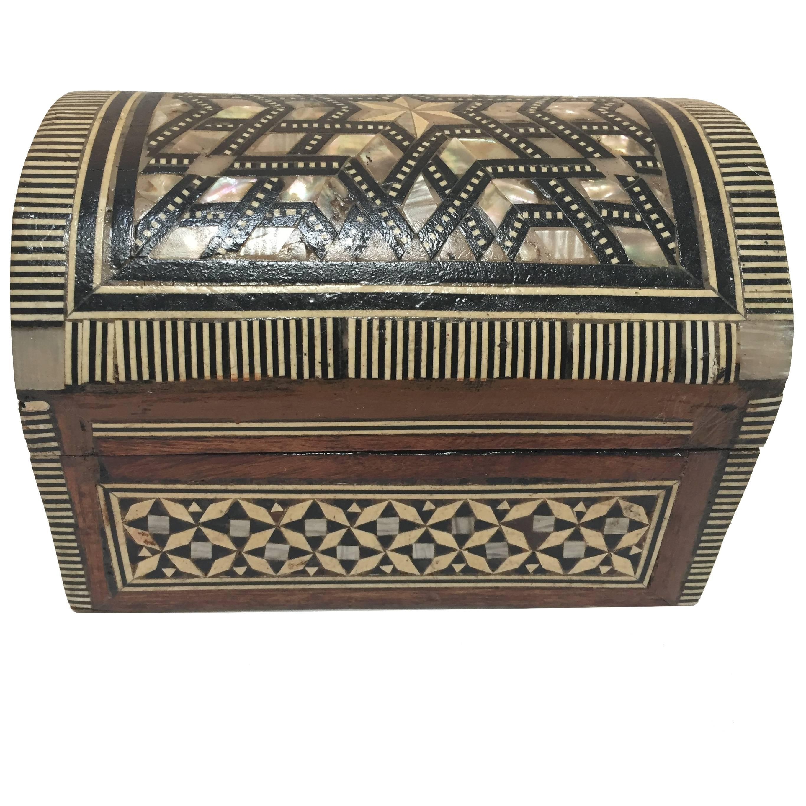 Middle Eastern Syrian MotherofPearl Inlaid Jewelry Box at 1stdibs