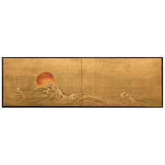 "Japanese Two-Panel Screen ""Red Sun and Waves on Gold Leaf"""