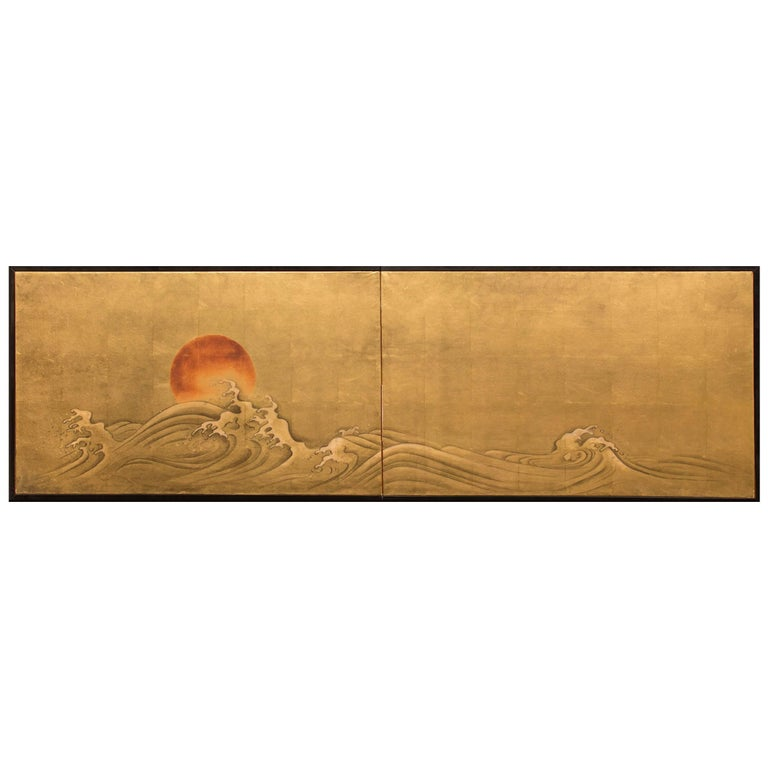 """Japanese Two-Panel Screen """"Red Sun and Waves on Gold Leaf"""""""