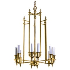Twelve-Light Brass Skyscraper Chandelier