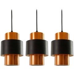 Three Pendant Lights by Jo Hammerborg, Copper Black Metal, 1960s