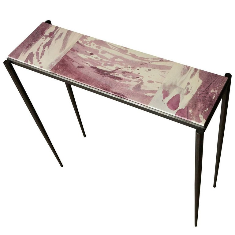 Shibori Console Table with Hand-Painted Goatskin Parchment and Hand-Forged Steel For Sale